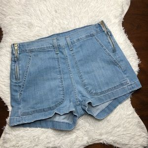 Levi's Double Side Zip High Waist Shorty Shorts